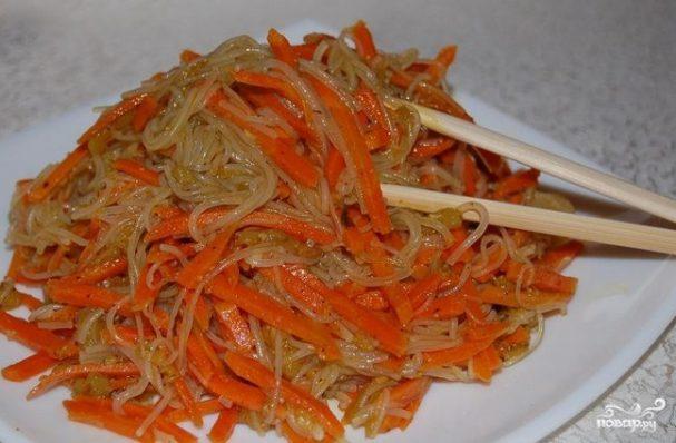 рецепты салатов из фунчозы с морковью
