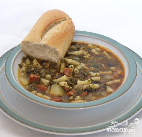 Суп с капустой и колбаской чоризо