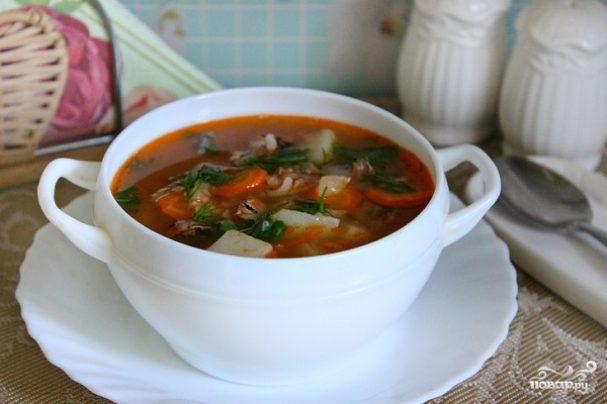 Суп из скумбрии в томатном соусе