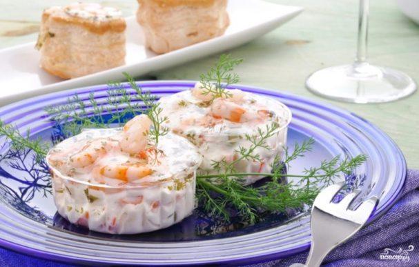 Креветки в сырно-чесночном соусе