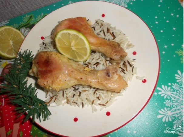 Куриные ножки с рисом в рукаве