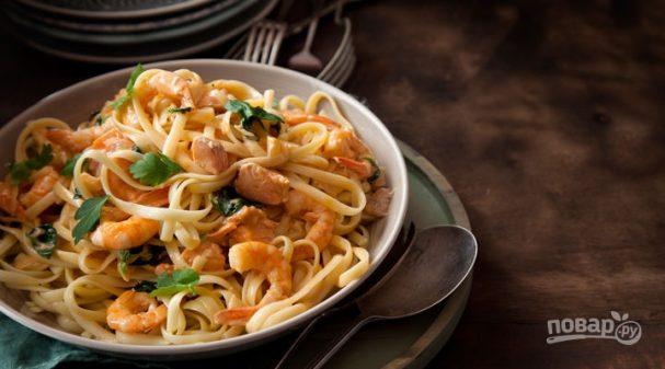 Морепродукты с макаронами