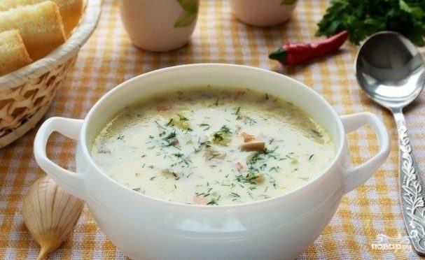 Суп с вешенками и плавленным сыром