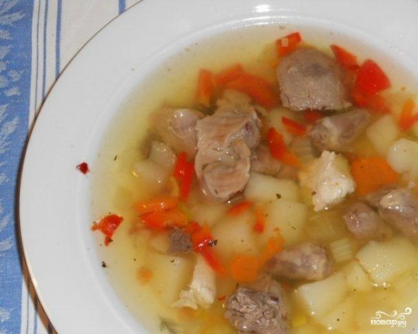 Суп из желудков и сердечек