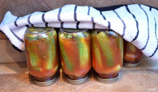 Консервированные огурчики с кетчупом