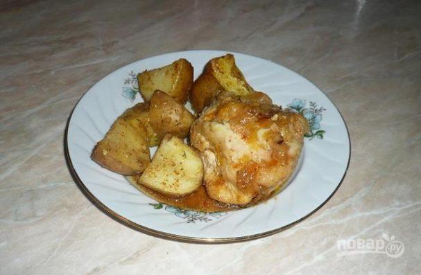 Курица с апельсином и луком
