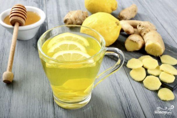 Зеленый чай с имбирем, лимоном и медом