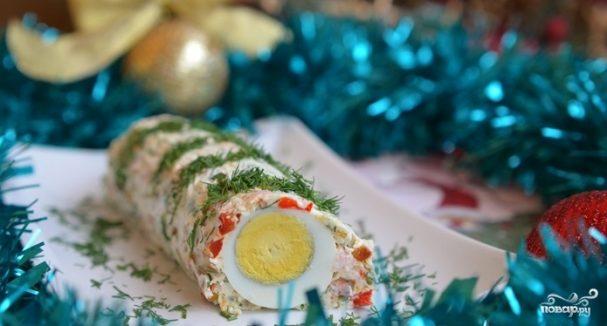 Праздничный рулет с креветками