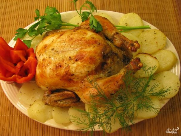 Румяная курица в мультиварке