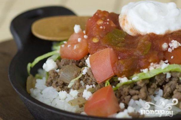Японский рис с говядиной и сыром