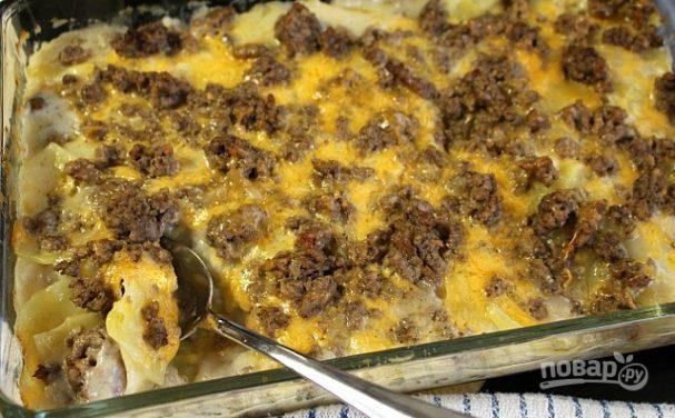 Фарш, картошка и сыр в духовке