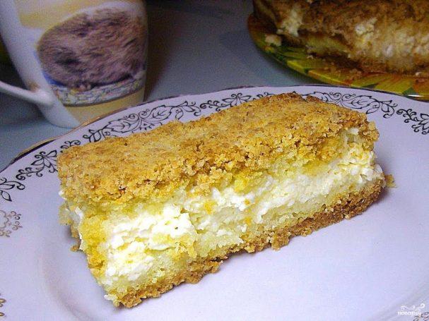 песочный пирог с яблоками и творогом рецепт с фото