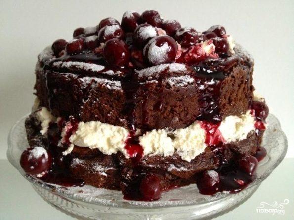 Торт с вишней и сметаной