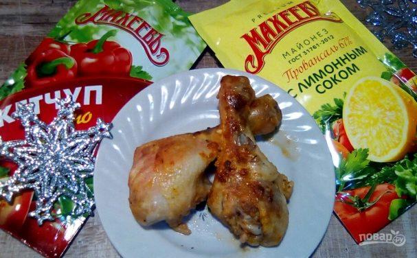 Куриные голени, запечённые в рукаве в майонезом соусе на праздник