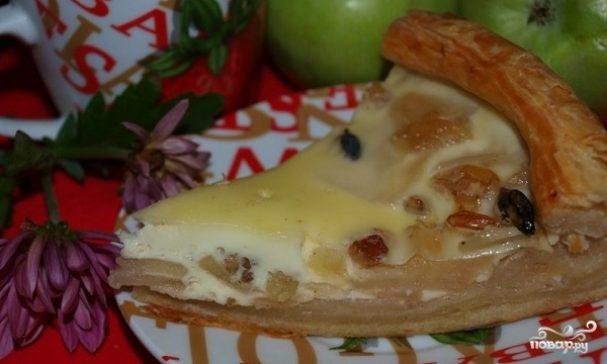 Слоеный пирог с яблоками из готового теста