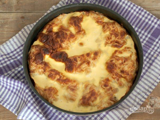 Заливной пирог с рисом и фаршем