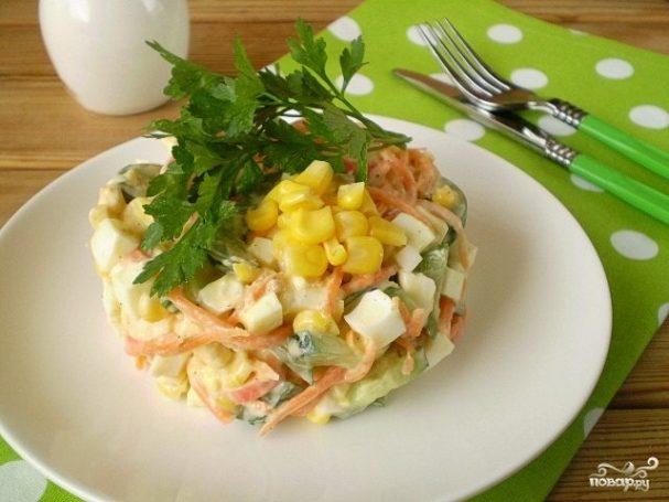 Салат с корейской морковкой и кукурузой