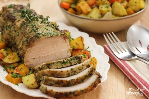 Овощи со свининой в духовке
