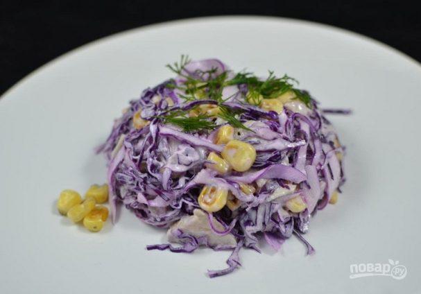 Салат из капусты и кукурузы