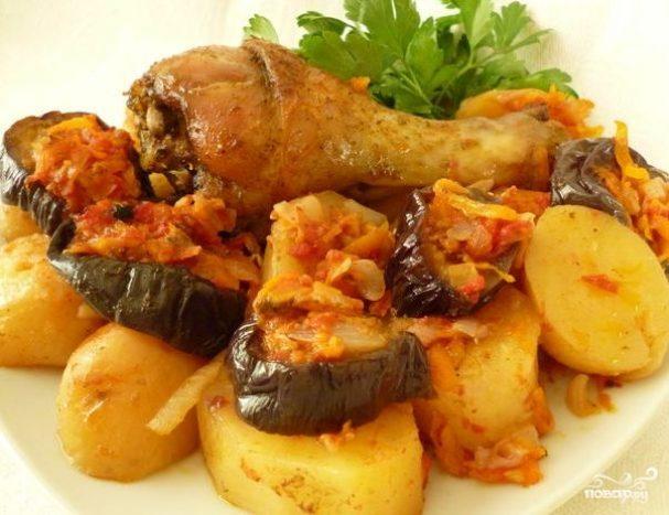 Жаркое с баклажанами и картошкой