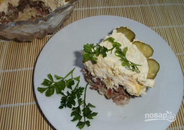 Салат слоеный с куриной печенью рецепт пошаговый 177