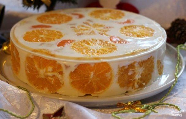 Торт с фруктами и желатином