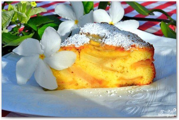 шарлотка без разрыхлителя с яблоками рецепт с фото