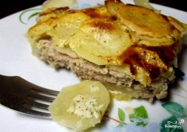 Фарш с картошкой в духовке