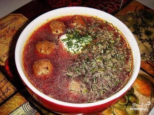 Суп с фрикадельками и томатной пастой