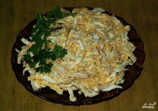 салат с луком яйцом и кальмарами