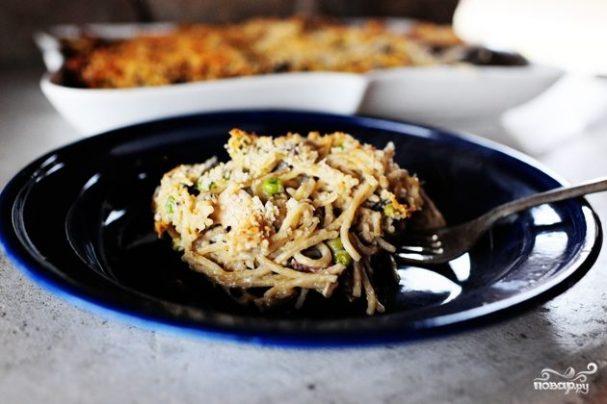 Запеканка с индейкой и спагетти