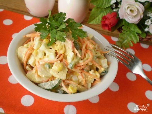 Салат с корейской морковкой и крабовыми палочками