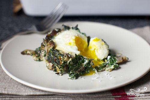 Яйца, запеченные с грибами и шпинатом