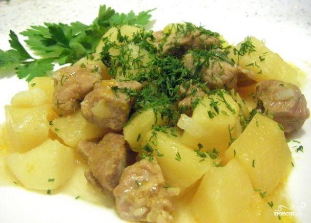 Рецепт тушеного мяса с картошкой в казане