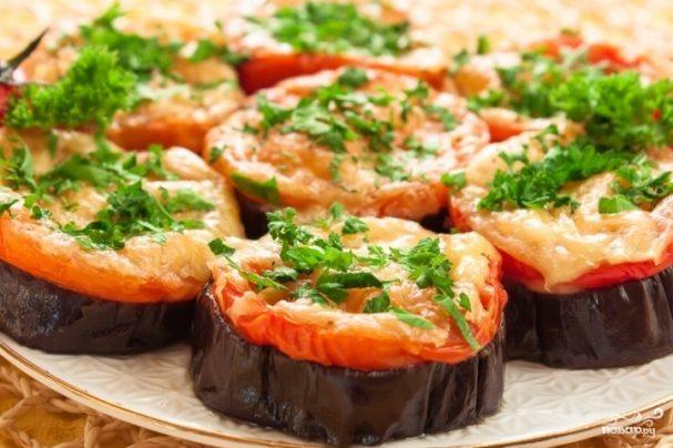Баклажаны с сулугуни и помидорами