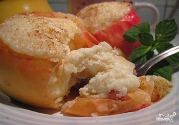 печеные яблоки в духовке с творогом рецепт