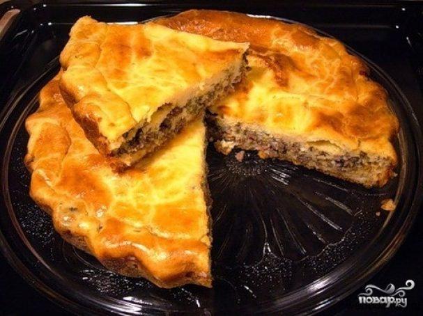Пирог с фаршем и грибами