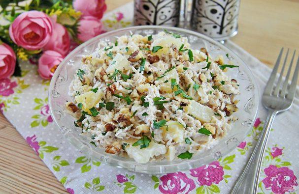 Салат из индейки с ананасом