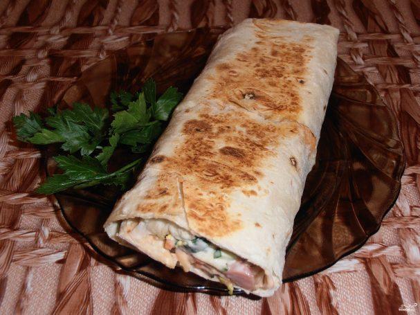 шаурма из колбасы в домашних условиях рецепт с фото