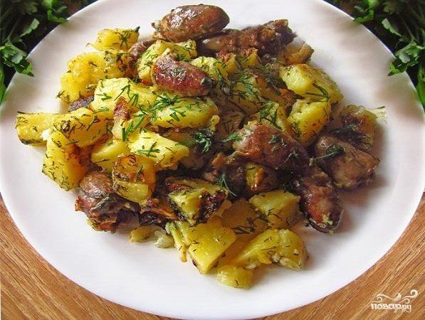 Куриные сердечки,тушеные с овощами(-60 обед