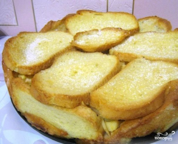 рецепт шарлотки с яблоками из батонас фото