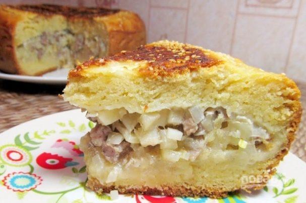 Пирог с мясом и картошкой в мультиварке