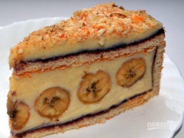 Банановый торт из готовых коржей
