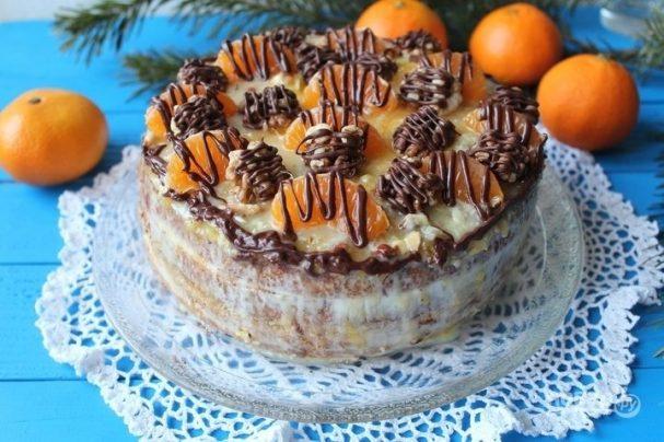 Рождественский торт с мандаринами