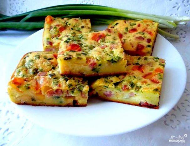 Заливной пирог с ветчиной и сыром