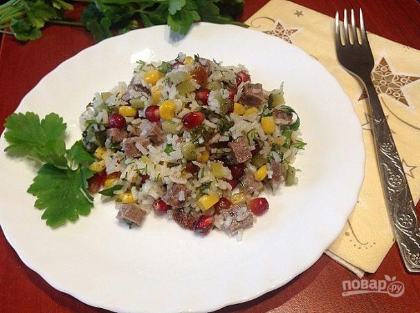 Салат с рисом и говядиной