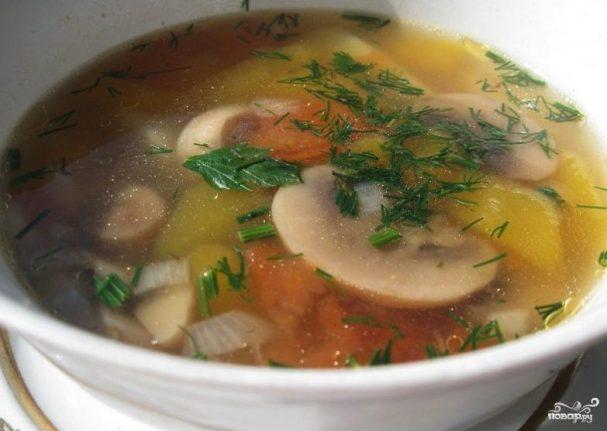 Суп с вешенками и шампиньонами