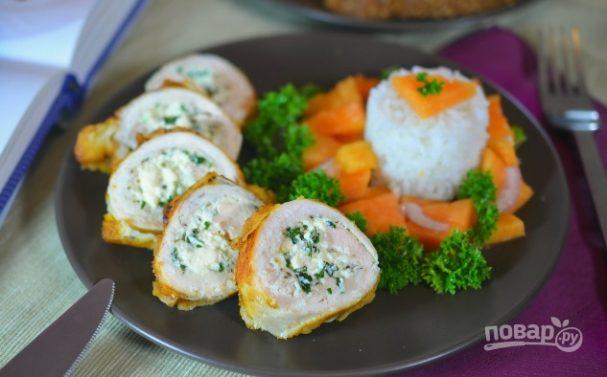 Курица с сальсой из папайи