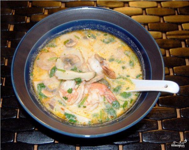 Молочный суп с пастой и морскими гребешками