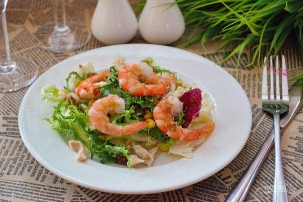 Салат из кальмаров и креветок